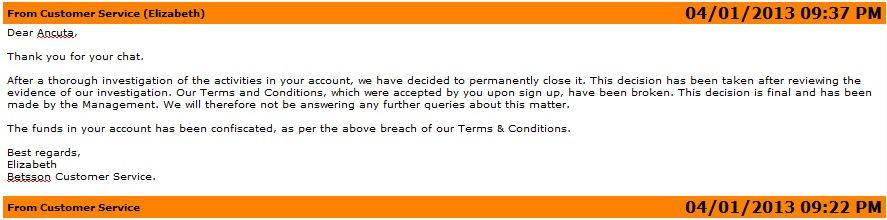 Betsson account clossed